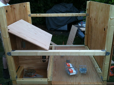 A second cross-beam should be installed at just the right height such that the nesting box roof just barely rests on top.