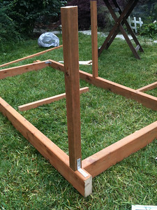 Attach the posts using additional 90-degree joints.