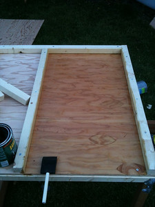 Cover the roost floor with polyurethane. You need to do this now because it will become inaccessible in the next step.