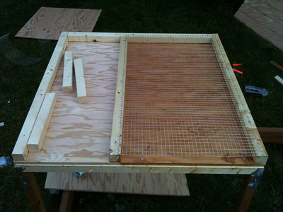 Add hardware fabric over the roost floor. This will give the chickens a walking surface while allowing their droppings to fall through.