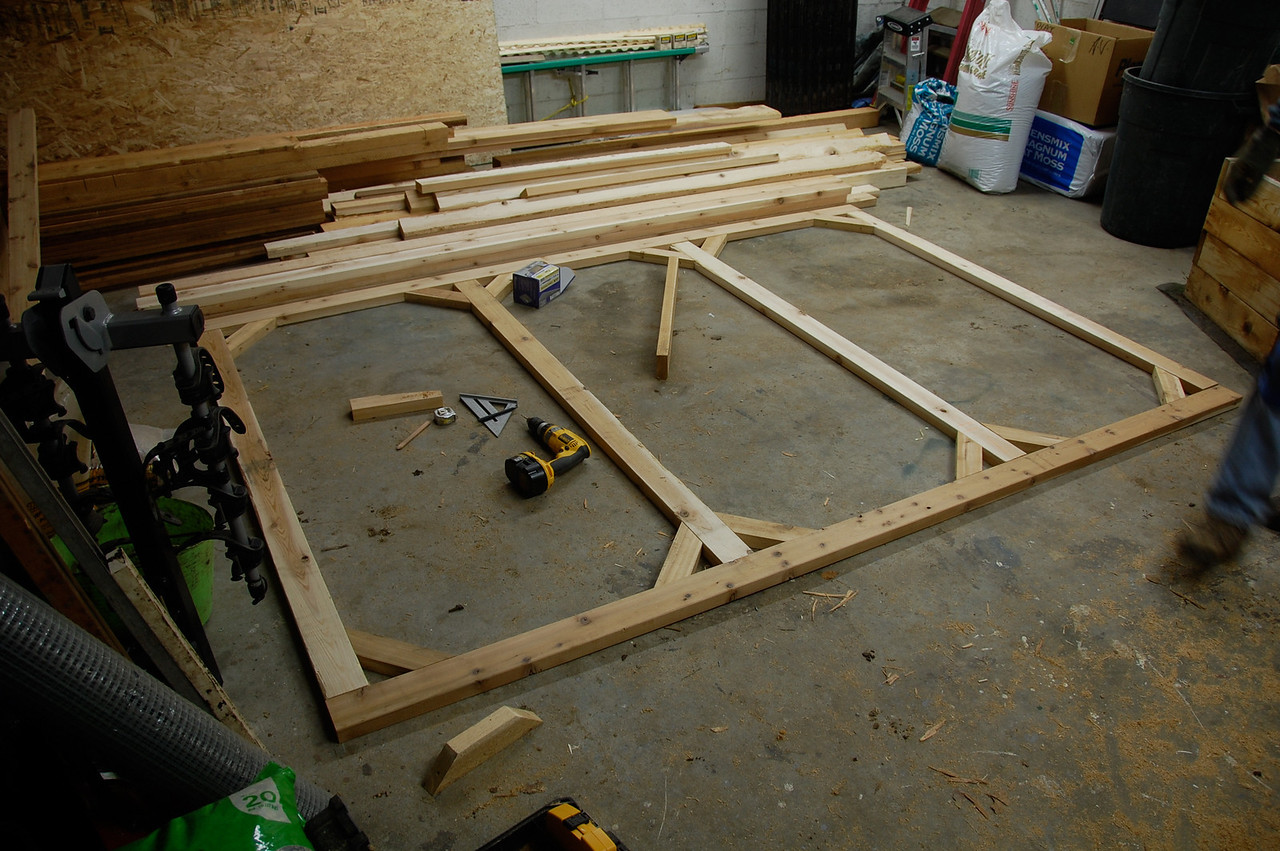 Frame building in the warmer garage.