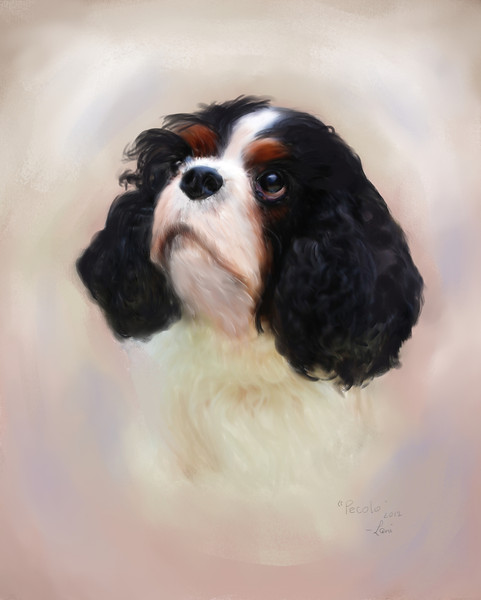 "Memorial portrait of ""Pecolo"" a Cavalier King Charles Spaniel.  Painting by Lucky Dog Pet Photography based on a snapshot photograph provided by and copyright our client."
