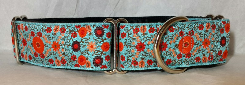 "Suzani Flowers, 1 1/2"" wide martingale collar"