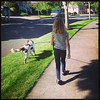 Keira walking Sadie May 2014