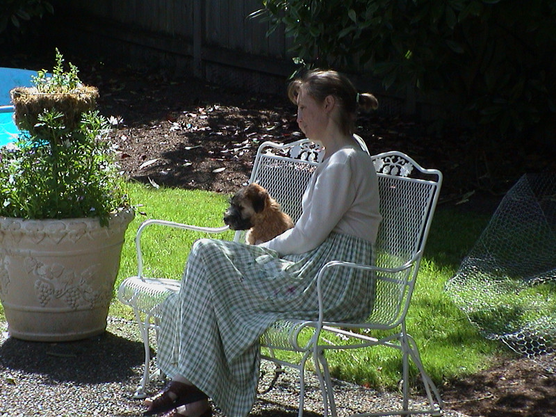 Cheri relaxing with Sophie