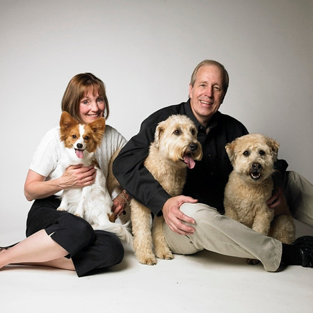 "Family portrait of Cheri and me with Fleur, Maude, and Sophie.<br /> Style: ""Photography by Amanda Jones"" - this photo was taken by professional dog photographer Amanda Jones.  Please do NOT order prints of any photos thus labeled, since that would be like ""stealing"" from her."