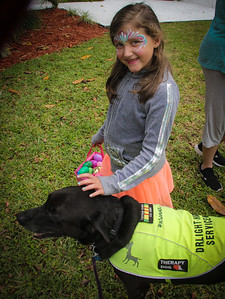DrLight Therapy Dog,  Loves Kids  brings Joy,  Easter Egg Hunt,  Hospice,  3 24 2018