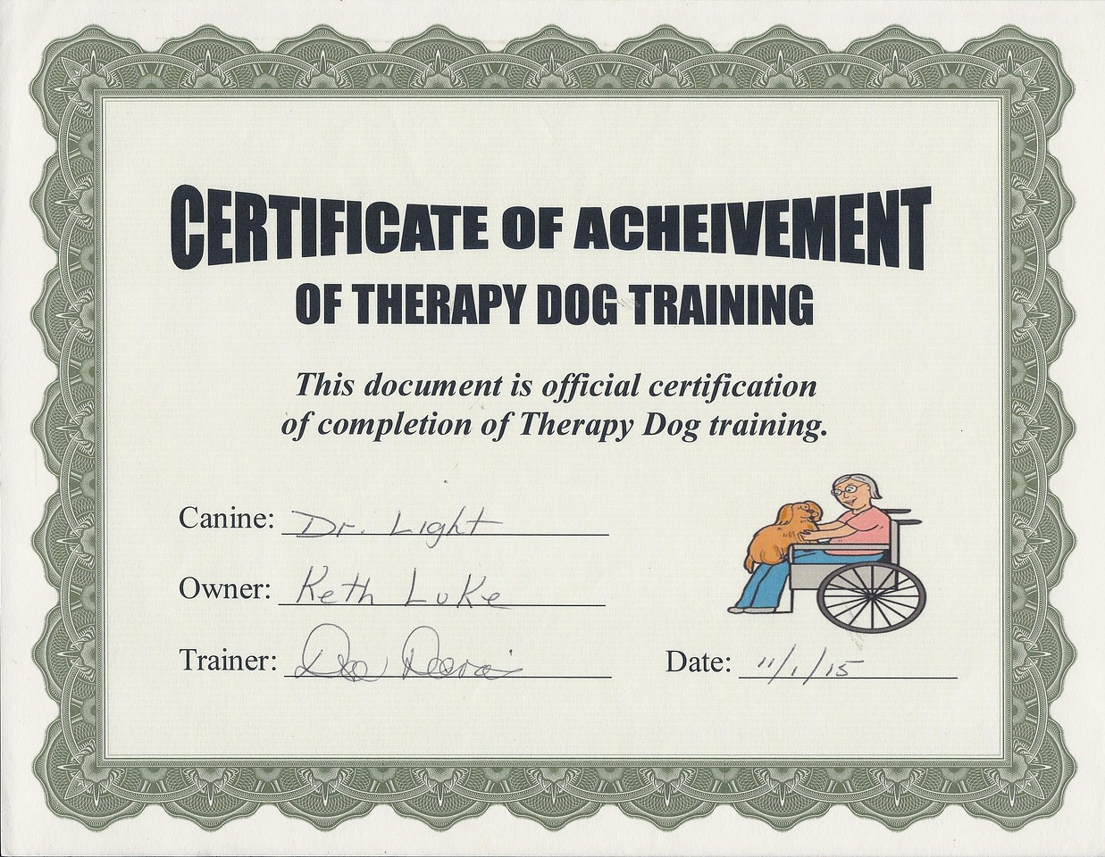 DrLight, Therapy Dog  Certification, 11 01 15