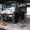 Dog used for scale, next to a Mercedes Unimog, August, 2003.