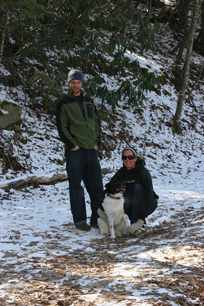 Drew, Catherine & Bessie on a hike in Asheville