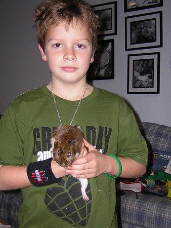 Caleb & one of the gerbils
