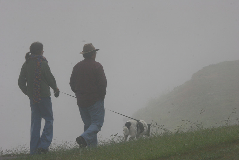 Ed, Catherine & Bessie in the fog at Lake Junaluska