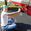 Katherine heavy-duty cleaning the plane. :)