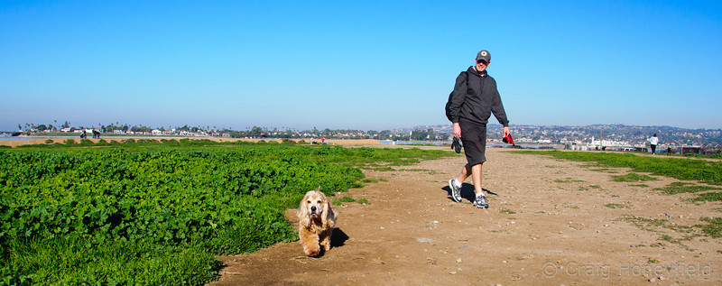 Sammy & Steve enjoying a nice stroll along the dirt path @ fiesta island