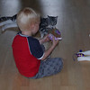 Netop ankommet fra Inges Kattehjem i Hillerød. Magnus klarer introduktionen.