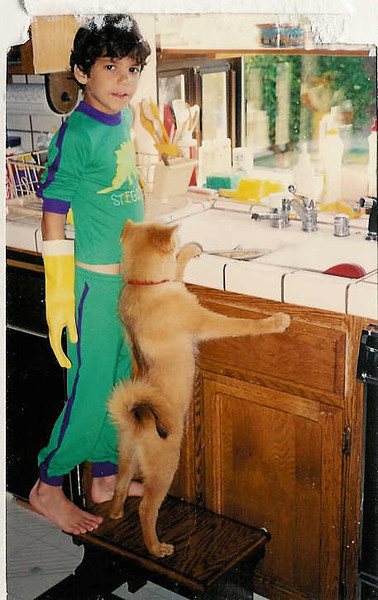 Puppy Friskey and Jeff doing the dishes