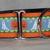 "Ghosts and Pumpkins on orange 1 1/2"" wide collar"