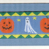 Ghosts and Pumpkins on smoke blue