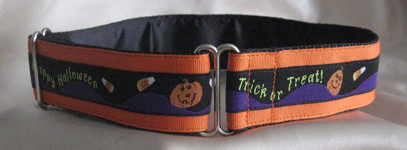 "Happy Halloween on orange, 1 1/2"" wide (Albi's tag collar shown)"