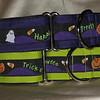 "Happy Halloween on purple or kiwi, 1 1/2"" wide collars"