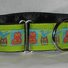 "Primitive Halloween on kiwi, 1 1/2"" wide martingale collar (could also be put on turquoise or orange)"