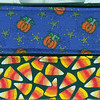 Mini Pumpkins on purple, top, Candy Corn