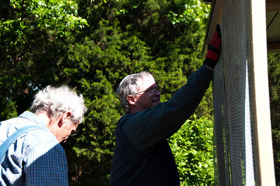 With adaptations to their clever plans, our good friend Reg and Stephen began the framing.