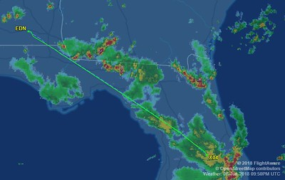 Our actually flight back was a straight line thru the rain. It was easy.