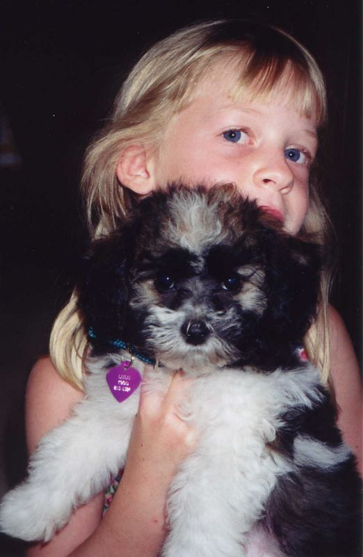 Sister Sue's Dog Lulu (March 2000)<BR> (Daughter Suzanne holding her)