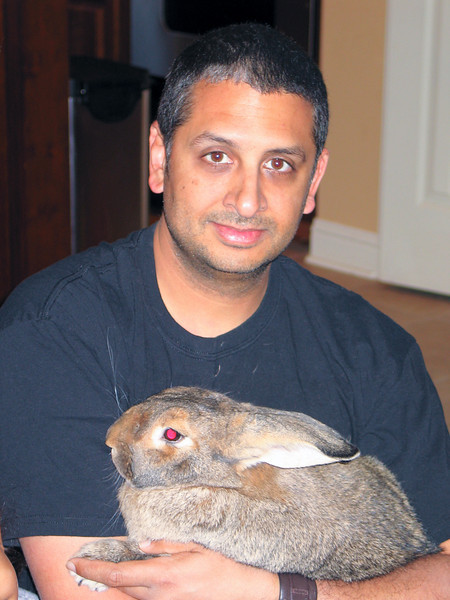 Me and my giant mutant rabbit.