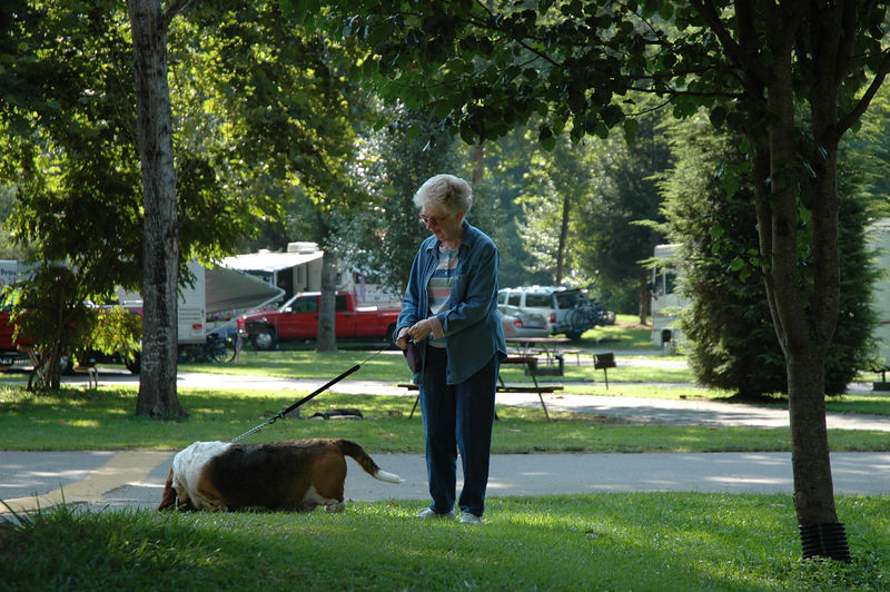 Grandma walking the basset while staying in Cherokee NC during the RV trip of 2004.