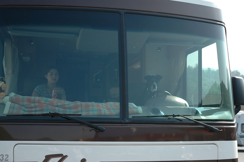 Rocky driving the RV while Amy tells him where to go (July 2004).