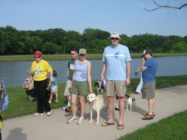 Katie and Sean walking Murphy at the Dog Day Afternoon event in Plano in 2007.