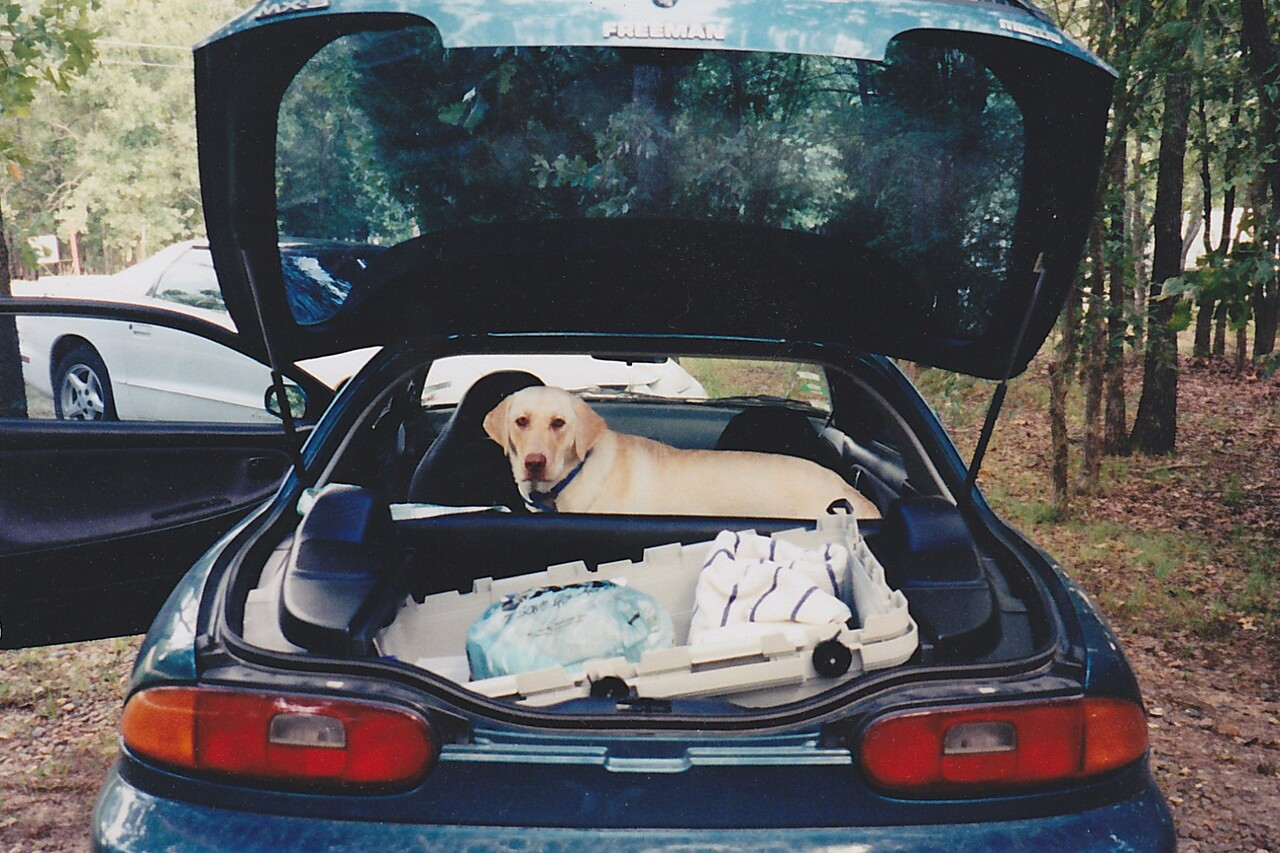 Murphy in Deena's former Mazda MX-3 at Lake Bonham