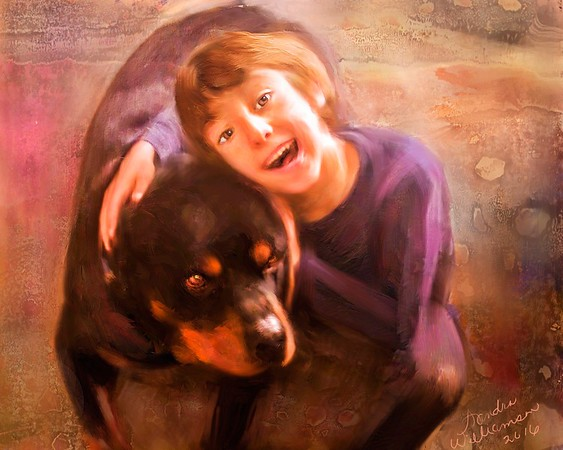 Rocky and Friend, a memorial portrait painted from a very low resolution snapshot by Sandy had two backgrounds, this and one plain.