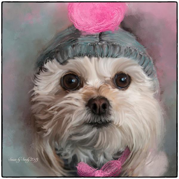 Sassie in a bonnet