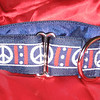 "Peace on blue, shown in 1 1/2"" wide martingale collar"