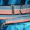 "Patriotic on blue, shown in 1 1/2"" wide martingale collar and 1"" wide leash (I do not offer this type of leash clip anymore)"