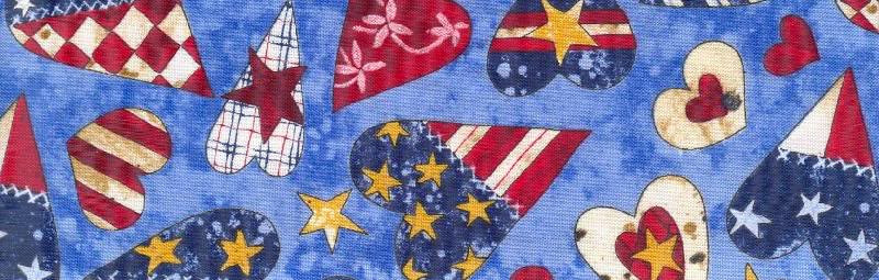 "Patriotic Hearts (fabric) available in 1"", 1 1/2"" and 2"""