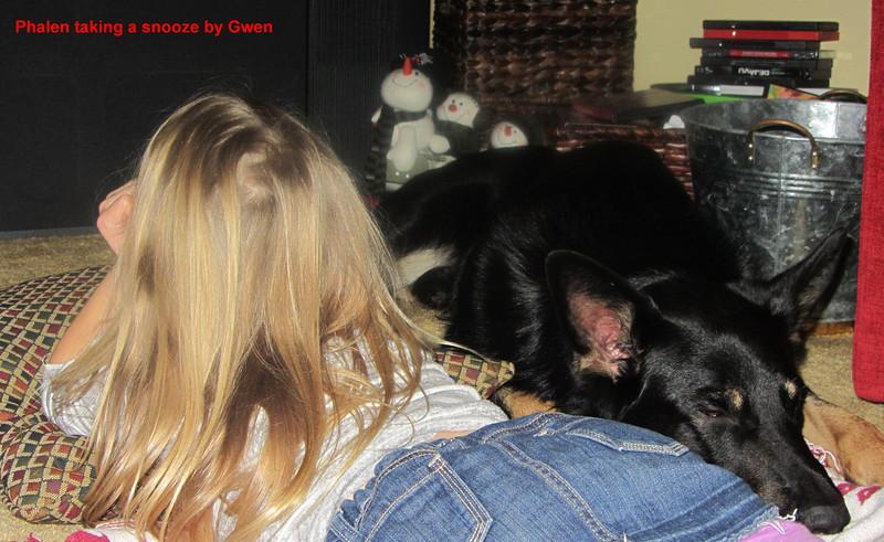 Phalen (Bear) keeps his little girl company