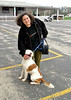 Digby and Rosemary at Wing Field, PA. Clearly a happy pup! :) <br /> <br /> Her report:<br /> He landed at Wings Field in Blue Bell at around 3:30 PM. He looked so cute looking out the window as Jerry was pulling up to the terminal. From there, we drove to Oaks, PA to meet his foster mom Betsy. He was great in the car, looked out the window some, also kept looking at the floor of the car, almost like he was trying to figure out how this darn thing was moving. Then he curled up on the front seat and chilled. <br /> <br /> He is a sweatheart! What a nice dog! And even cuter in person, he sure is a handsome dog. Hard to believe this dog ended up at a shelter 3 times in the space of 6 months. <br /> <br /> He did great with Lilly and Susan since he came out of the shelter, they just love him. Susan texted me earlier to let me know they are already missing him.