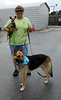 Sandra at KRWI and her two foster pups Nicole and Thor.