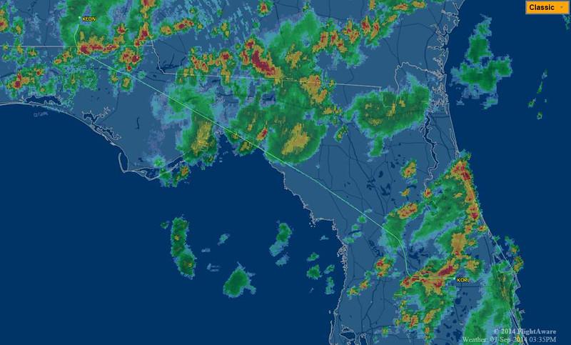 Flight map from AL to Orlando.