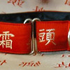 Silk Calligraphy red and gold martingale collar