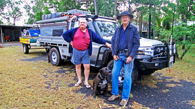 "Leaving for Cape York 4x4 adventure. ""Bye Spanner"" Brian & his great mate Spanner."