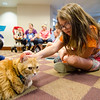 Liberty Zmijak, 7, pets therapy cat Oliver during an open house with TheraPAWS at Thayer Memorial Library in Lancaster on Wednesday evening to teach interested residents about how their pet can become a therapy pet. SENTINEL & ENTERPRISE / Ashley Green