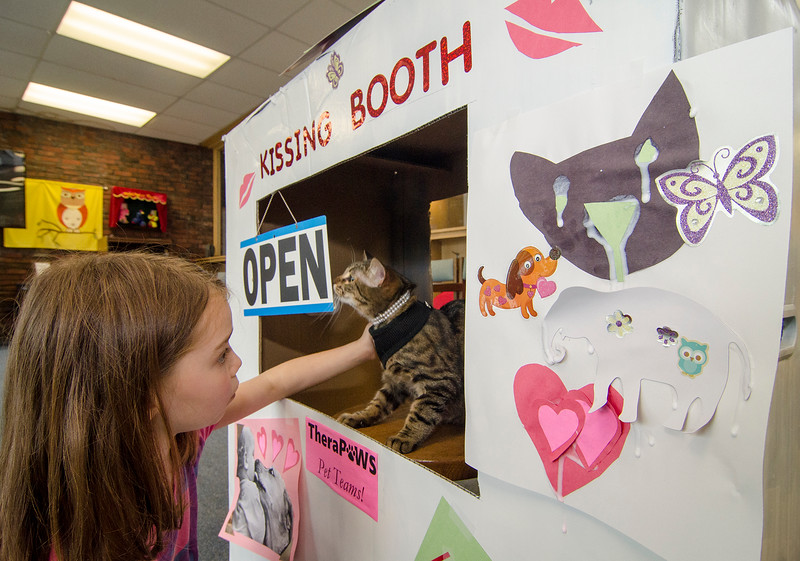 Therapy cat Indie and Jet Cragin Warner, 7, test out the kissing booth created for the TheraPaws therapy pet group at the Fitchburg Public Library on Saturday afternoon. SENTINEL & ENTERPRISE / Ashley Green