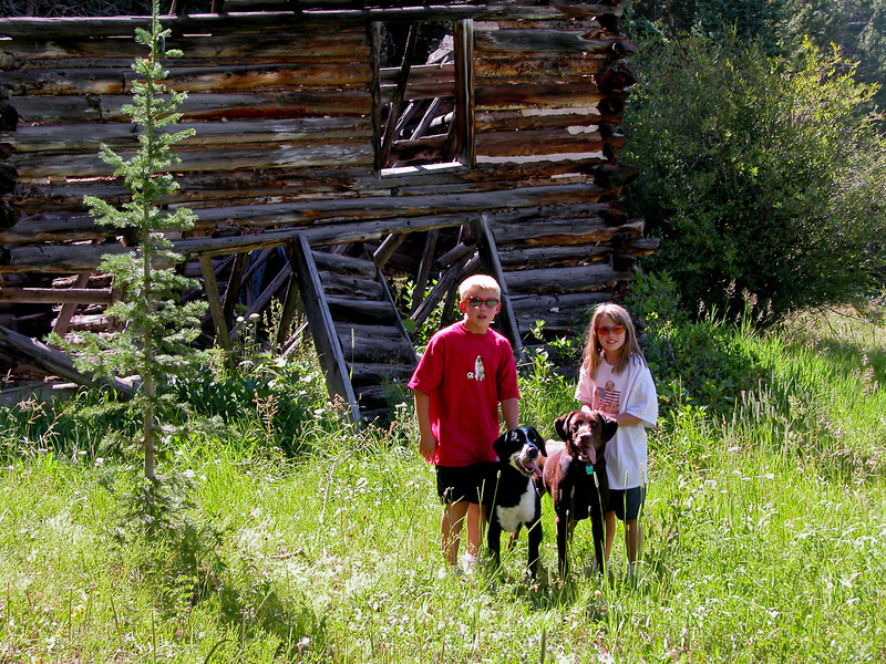 """Cam, Kenzie and Bozzy at the old cabin on """"Cabin Trail"""" at Sol Vista Ski Area, August 2003."""