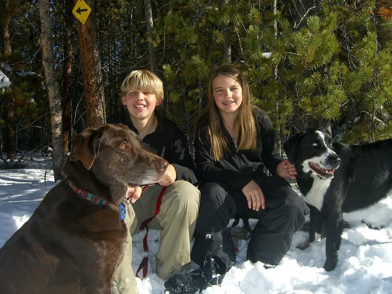 Uma, Cam, Kenzie and Bozzy on the Sol Vista Ski Trails December 8th, 2008.