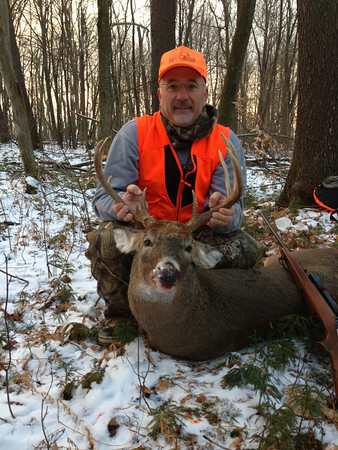 Jim Krull shot this 11 point buck in Cambria County while hunting with his son on the first day of the season. <br /> <br /> Photographer's Name: Ryan Krull<br /> Photographer's City and State: Carmichaels, PA
